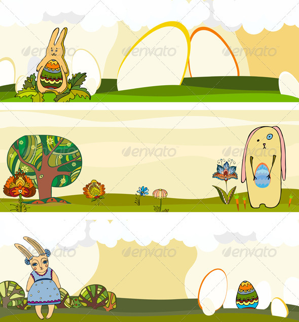 Easter Rabbit Banner Set - Seasons/Holidays Conceptual