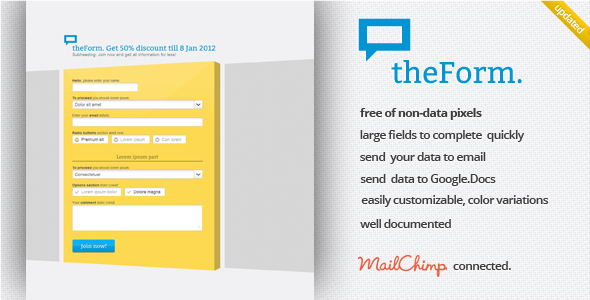 ThemeForest theForm HTML Sign up Subscribe Survey Landing 921198