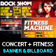 Rock Concert & Fitness Club Billboard+Banner PSD - GraphicRiver Item for Sale