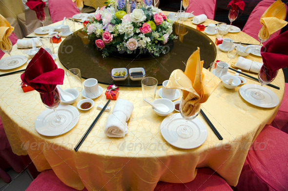 Wedding table in a restaurant - Stock Photo - Images