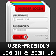 Modern, User-Friendly Login & Signup Boxes - GraphicRiver Item for Sale
