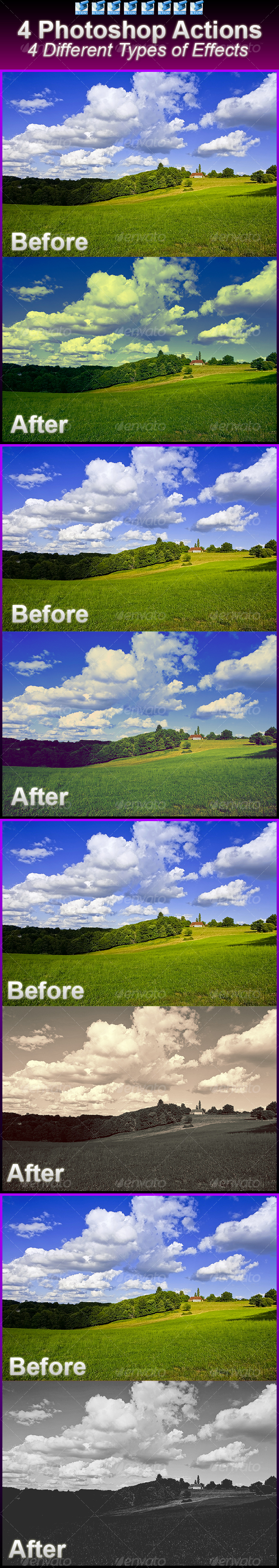 4 Super Effects (Actions) - Photoshop Add-ons