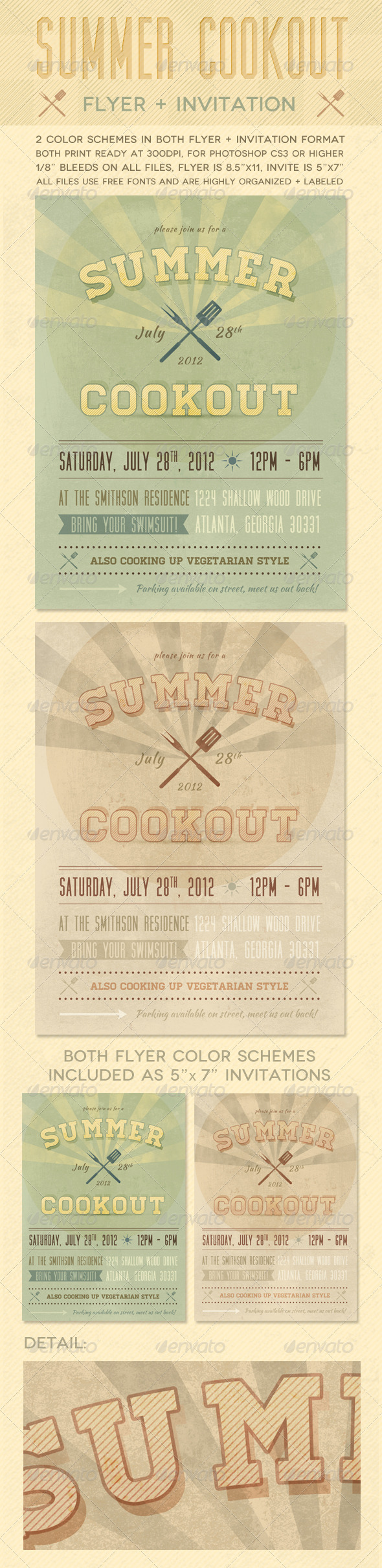 Summer Cookout Flyer + Invite - Events Flyers
