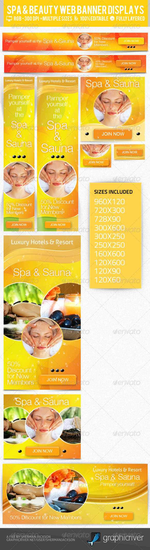 Beauty & Spa Web Banner & Ad Kit PSD Templates