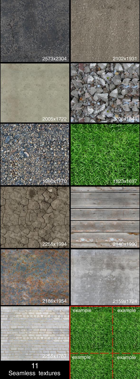 3DOcean 11 seamless textures 88997