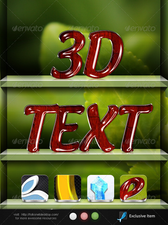 3D Text Effects Bundle - Actions Photoshop