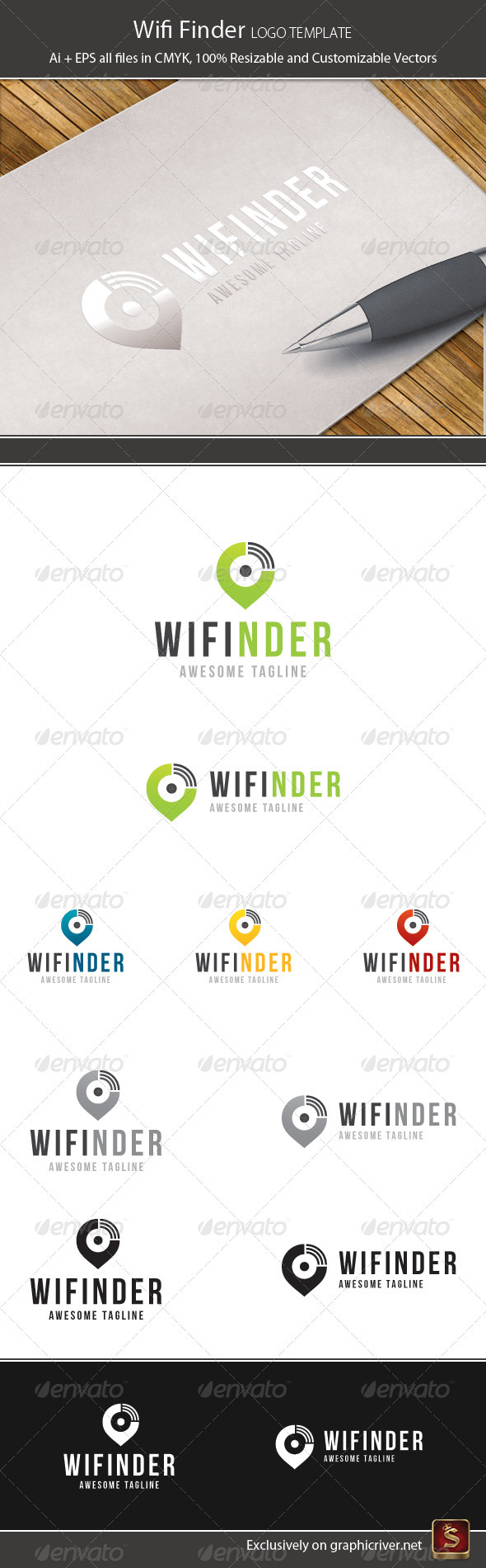 Wifi Finder Logo Template - Vector Abstract