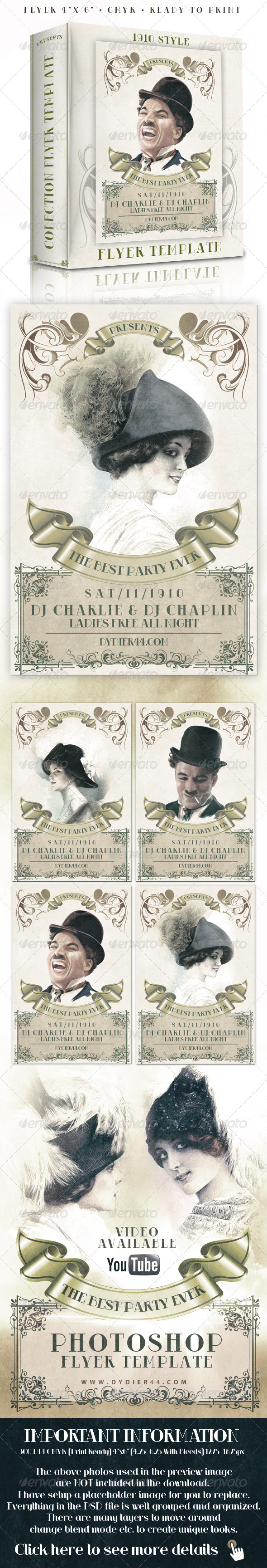 1910 Classic Style  (4x6 Flyer Template) - Clubs & Parties Events