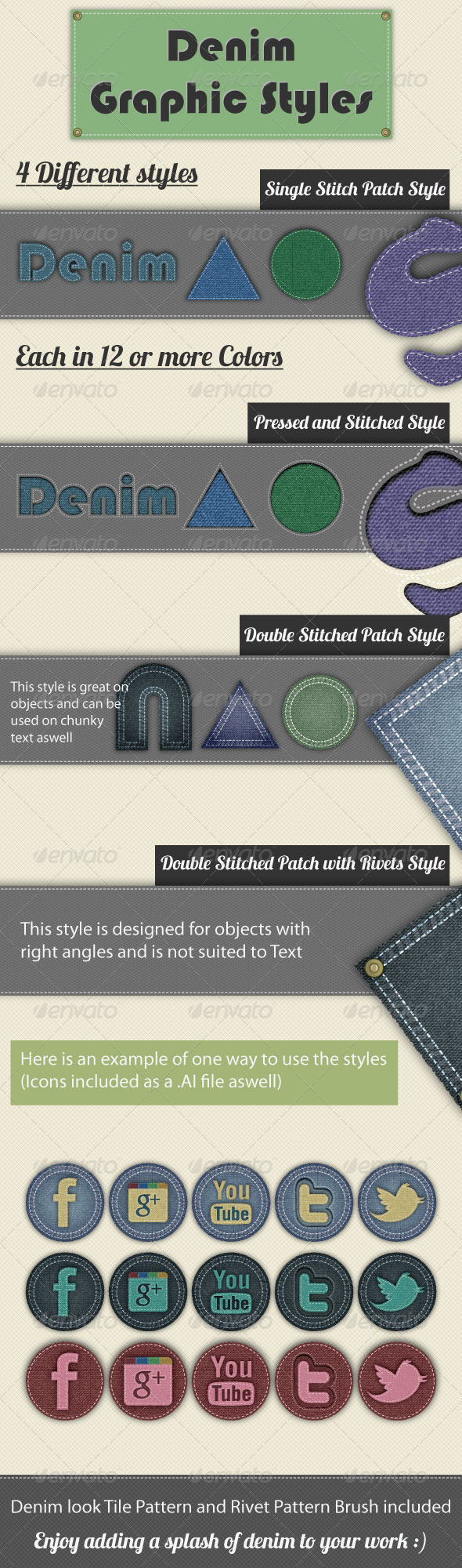 Denim Graphic Styles For Illustrator - Styles Illustrator