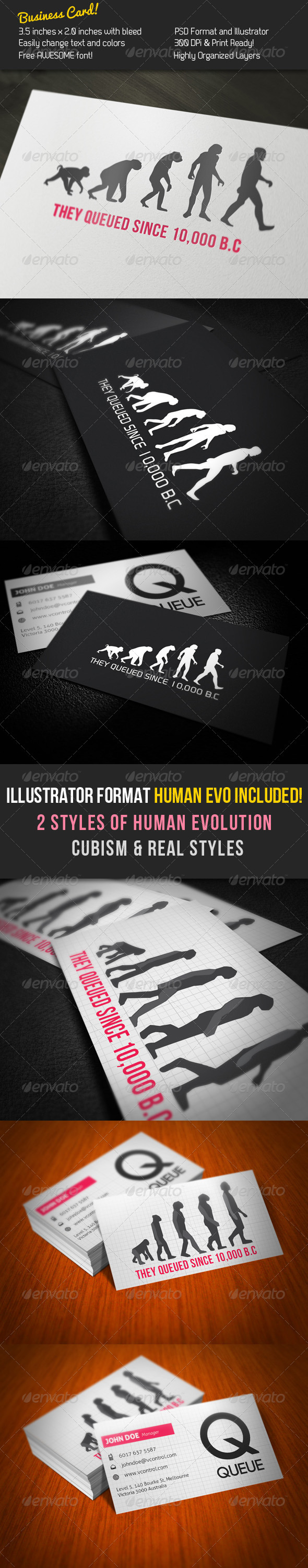 Queue Business Card - Creative Business Cards