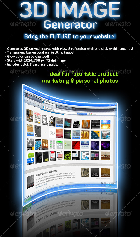 Add-ons : 3D Image Generator Action GraphicRiver 89111 - Photoshop