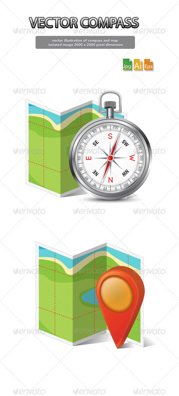 vector compass and map - Media Technology