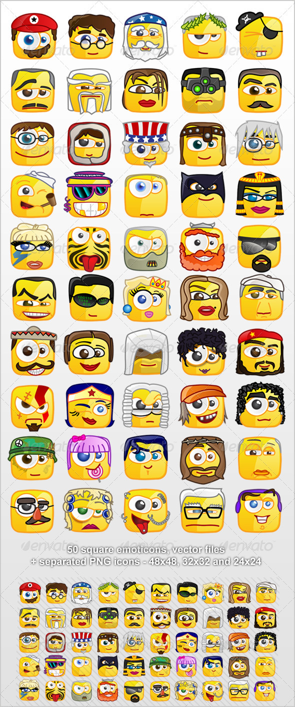 50 Square emoticons PACK 1 - Miscellaneous Characters