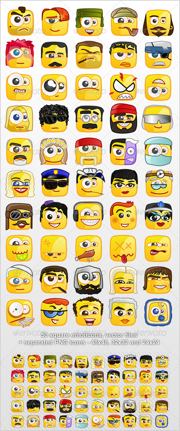 50 Square emoticons PACK 2 - Miscellaneous Characters