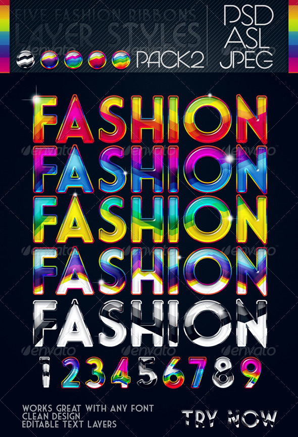 5 Fashion Ribbons Layer Styles - Pack 2 - Text Effects Styles