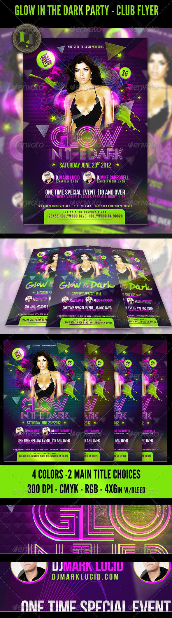 Glow in the Dark Party - Club Flyer - Clubs & Parties Events