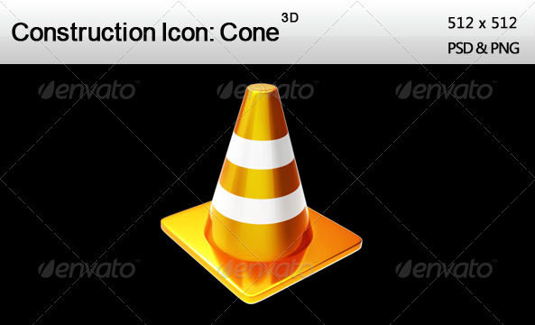 3D Construction Icon Cone