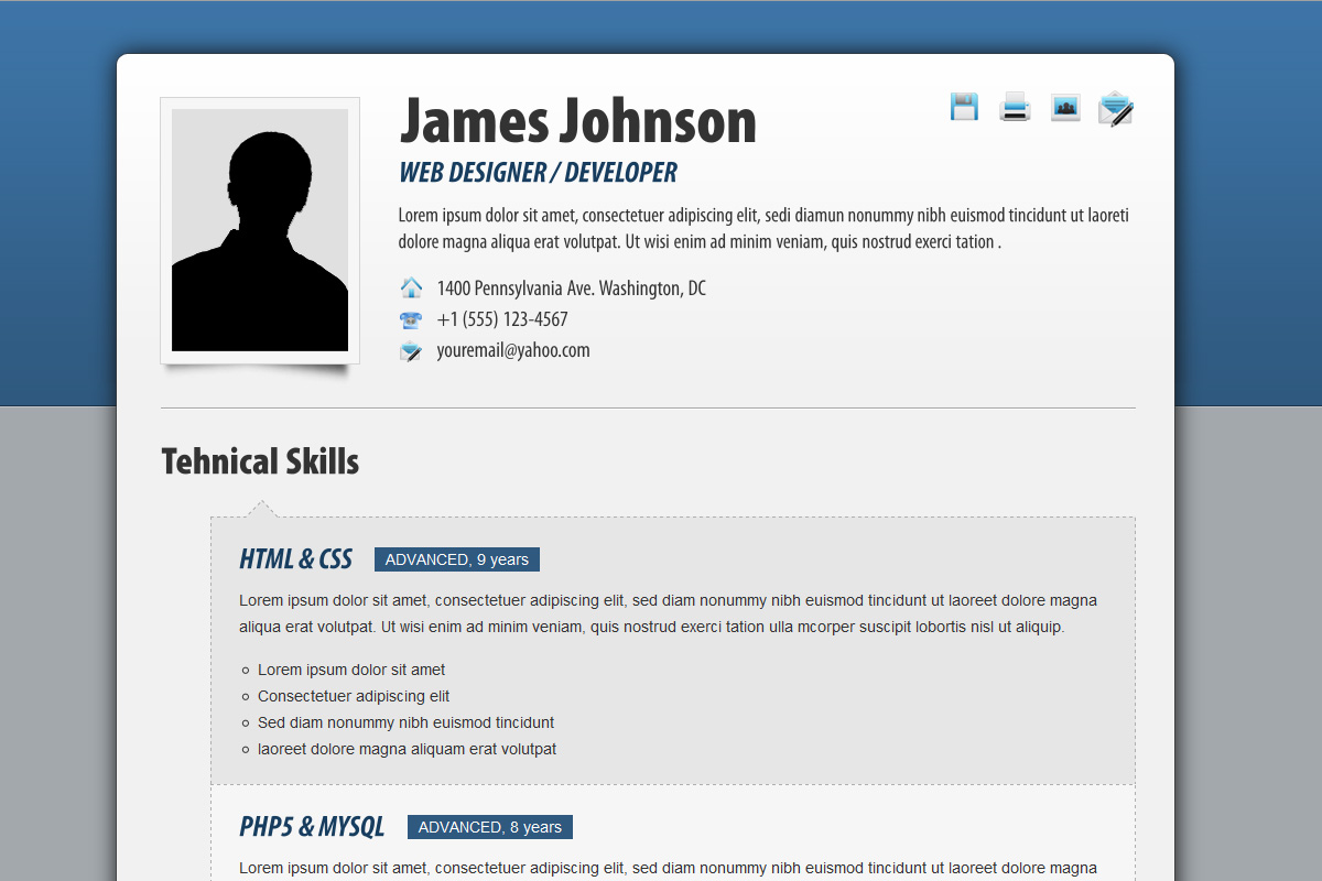 Fancy Resume / CV by cond0r | ThemeForest