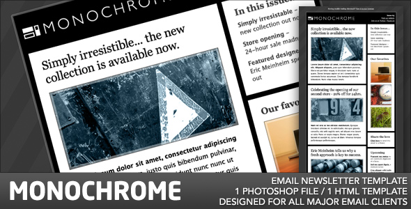 Monochrome Email Template - The template has two columns, and full style support across all major email browsers.