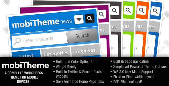 mobiTheme - WordPress Theme for Mobile Devices - dotMobi theme features.