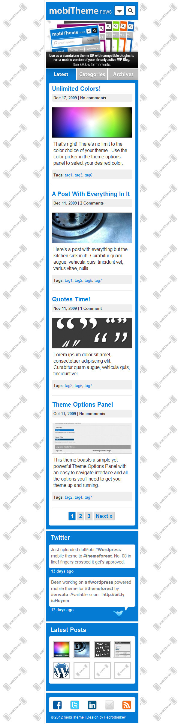 mobiTheme - WordPress Theme for Mobile Devices - Home page with header image.