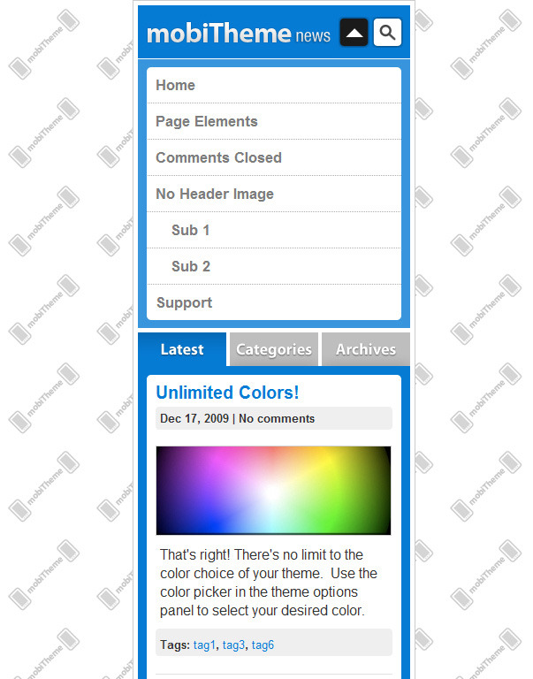 mobiTheme - WordPress Theme for Mobile Devices - Main navigation menu open.