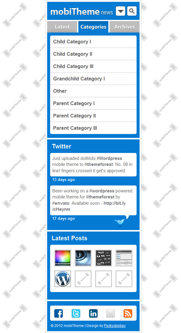 mobiTheme - WordPress Theme for Mobile Devices - Categories tab active.