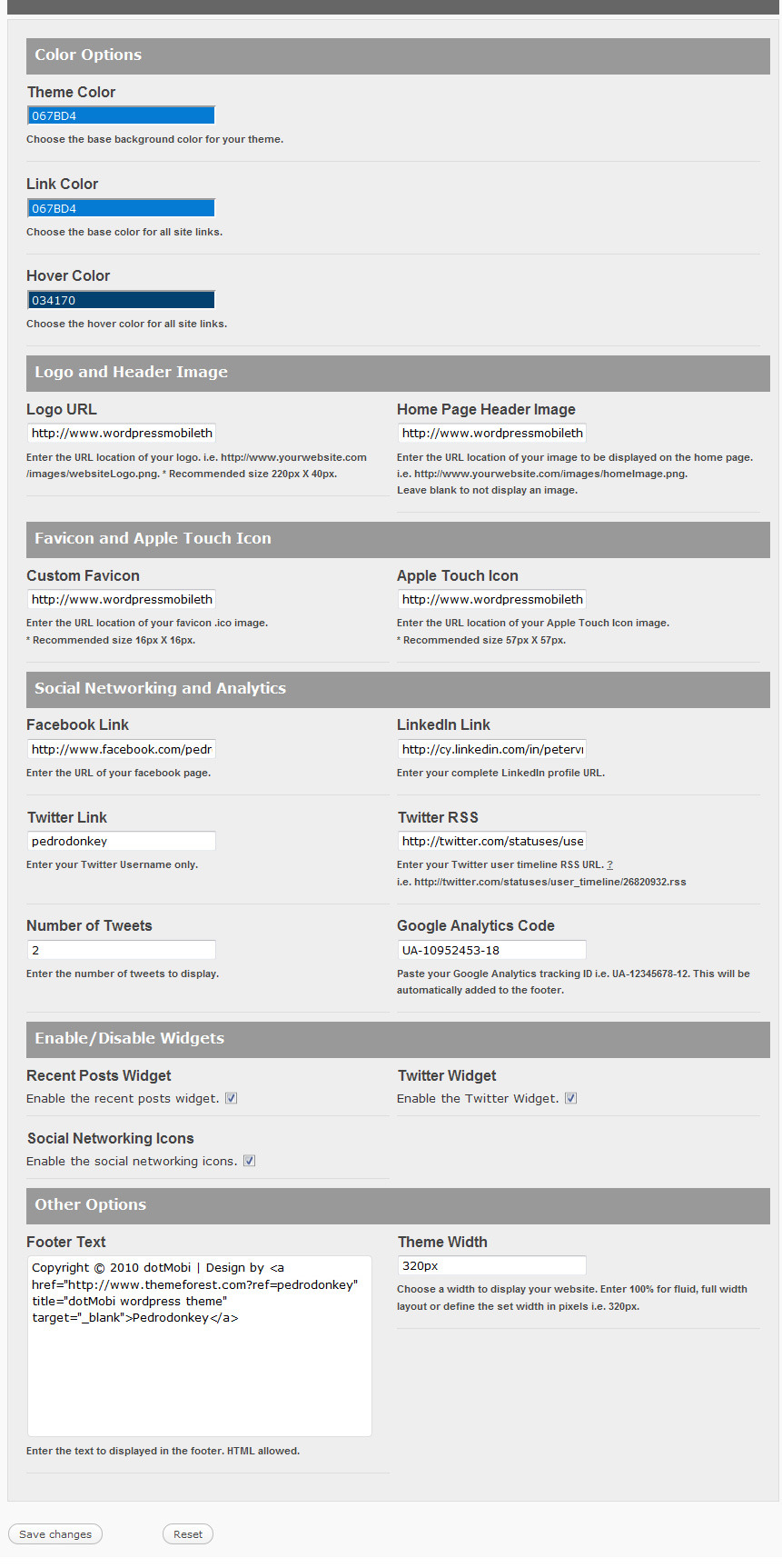 mobiTheme - WordPress Theme for Mobile Devices - Theme Options Panel.