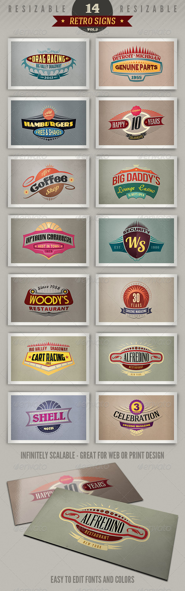 14 Retro Signs or Banners Vol.2 - Badges & Stickers Web Elements