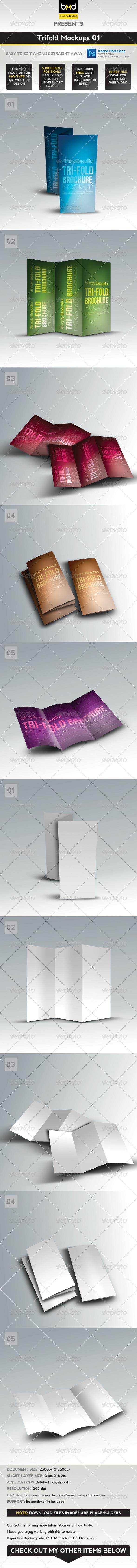 Trifold Brochure Mock-ups 01 - Brochures Print