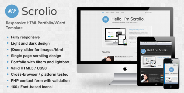 Scrolio - A Retina Responsive Portfolio Template - Preview - Scrolio is a crisp, clean, fully responsive one-page HTML portfolio site designed to effectively showcase your creative services. Unique features include animated skill bars, rotating tweets area, testimonials section, slider that supports images/html and over 100+ font-based icons for a truly responsive retina-sharp effect!