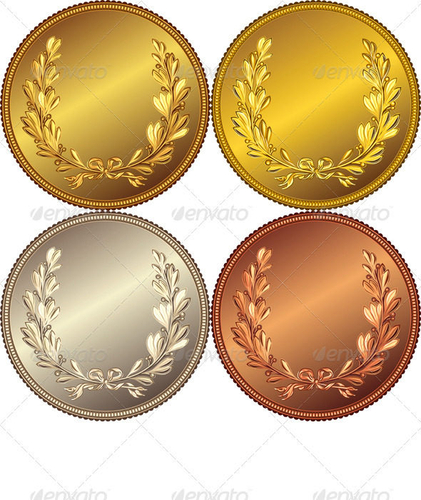 GraphicRiver Set of the Gold Silver and Bronze Coins 2440555