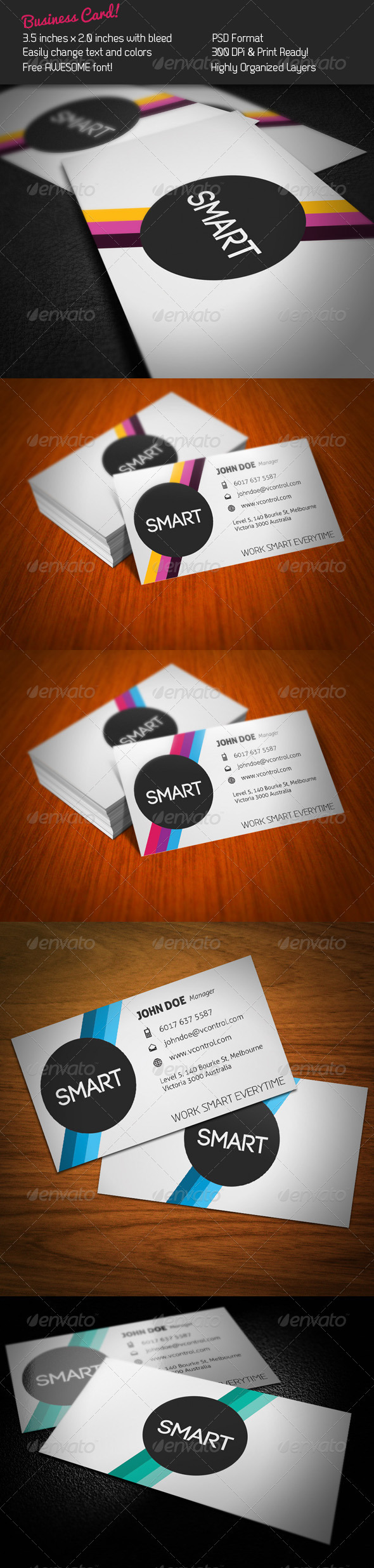 GraphicRiver Smart Stripes Business Card 274445