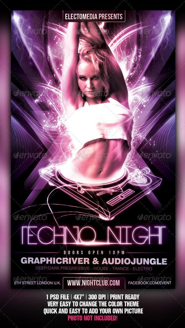 Techno Party Flyer Graphicriver