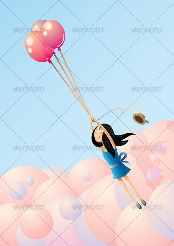 Balloon-Flying Girl