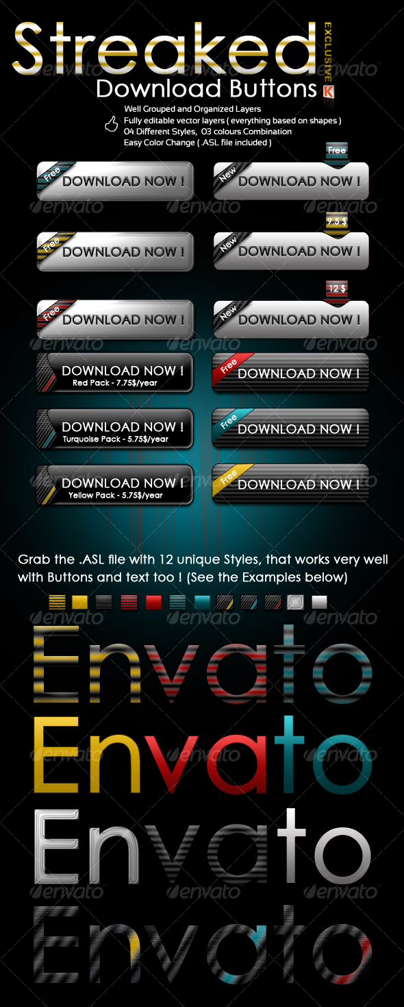 Streaked Download Buttons - Buttons Web Elements