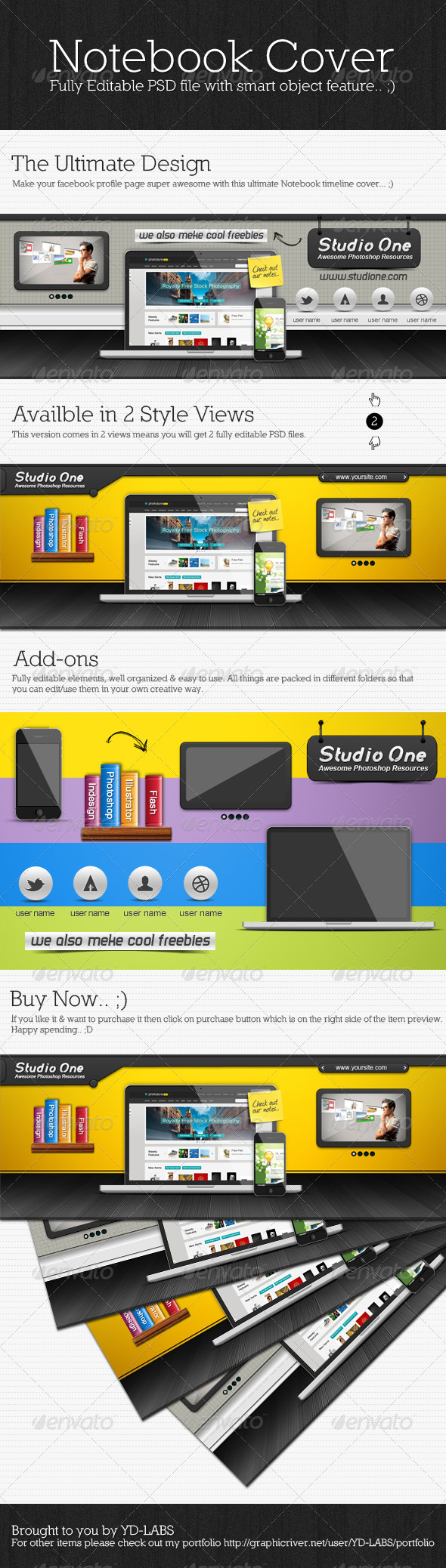 GraphicRiver Notebook Timeline Cover 2442989