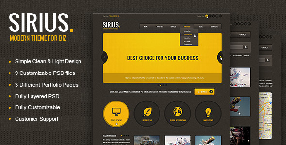 Sirius - Clean Style Portfolio PSD Template - Creative PSD Templates