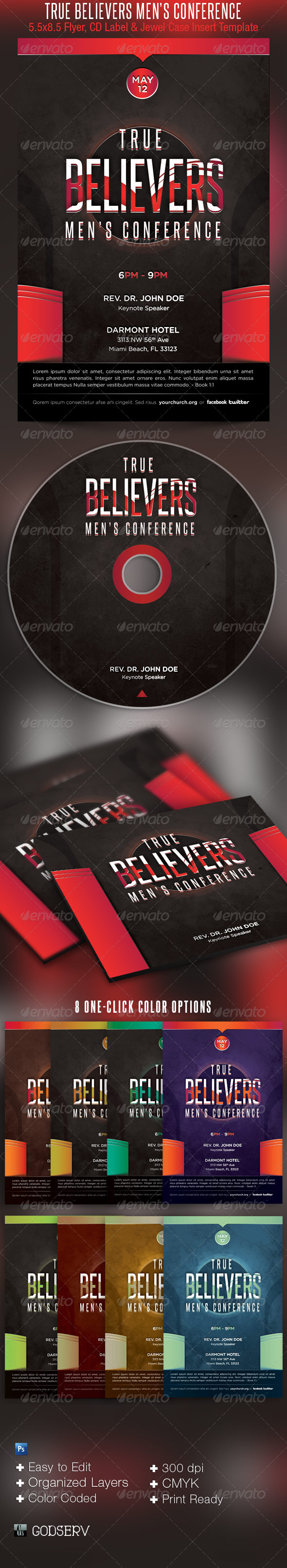 True Believers Mens Conference Church Flyer and CD - Church Flyers