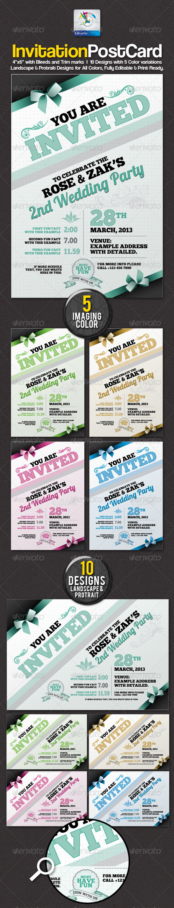 GraphicRiver Modern Invitation Postcard Sets 2445294