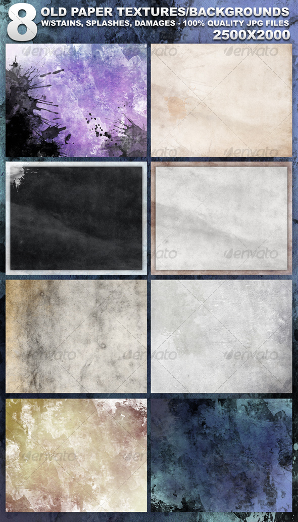 GraphicRiver 8 Old Paper Textures 89636