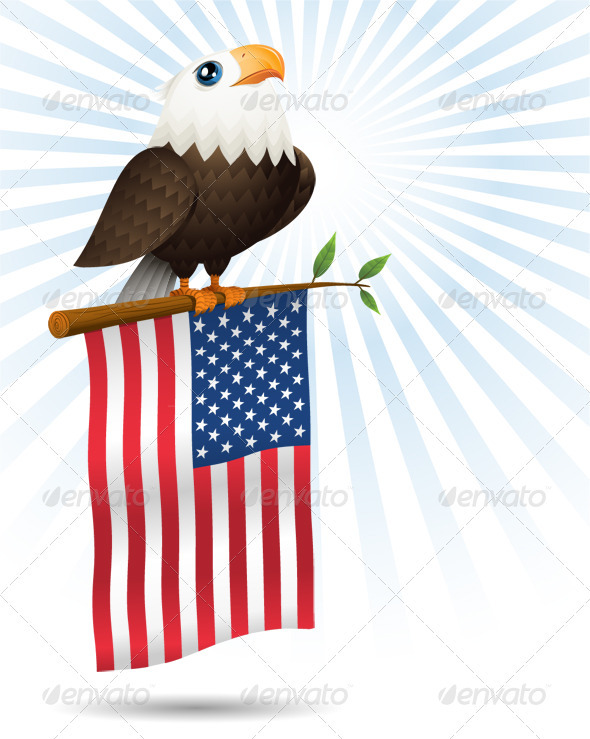 Eagle and Flag - Animals Illustrations