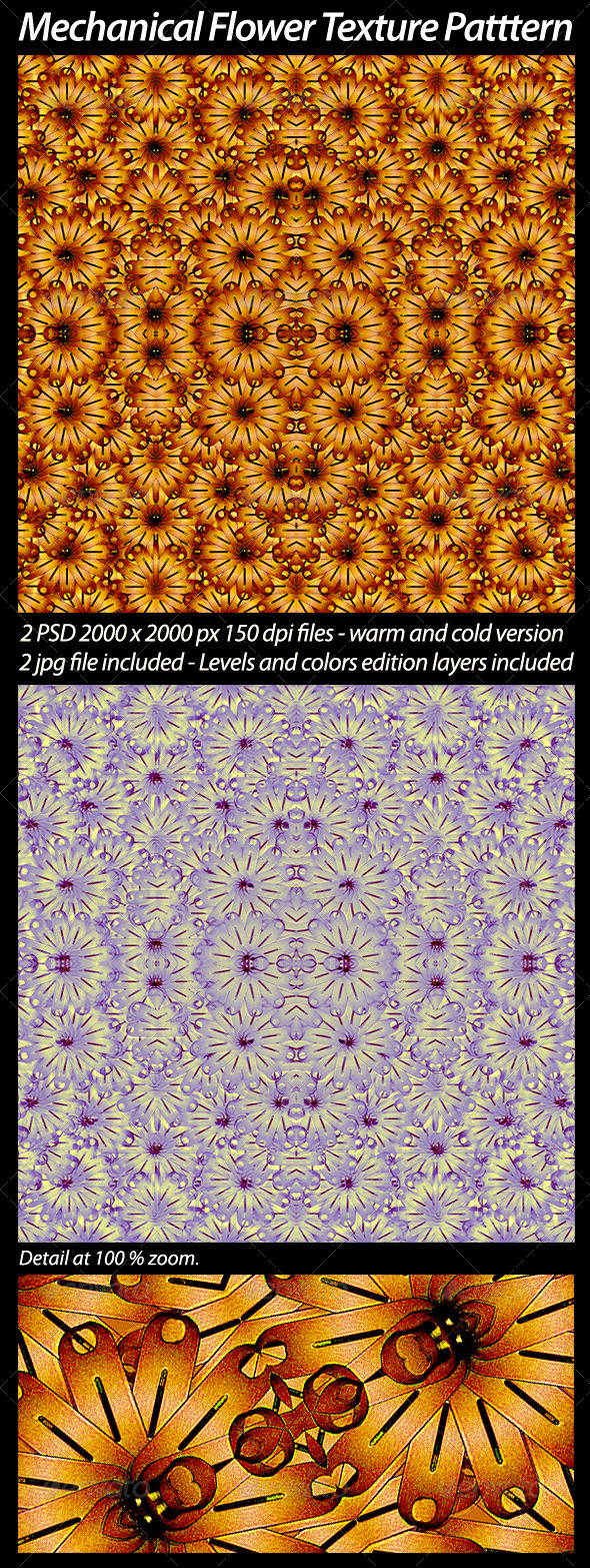 2 Mechanical Flower Texture Pattern - Art Textures