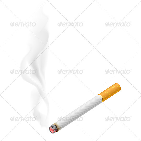 Realistic Burning Cigarette - Objects Vectors