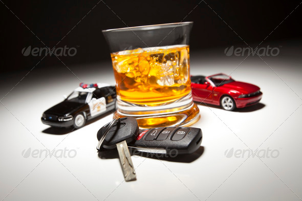 PhotoDune Highway Patrol Police and Sports Car Next to Alcoholic Drink and Keys 275224
