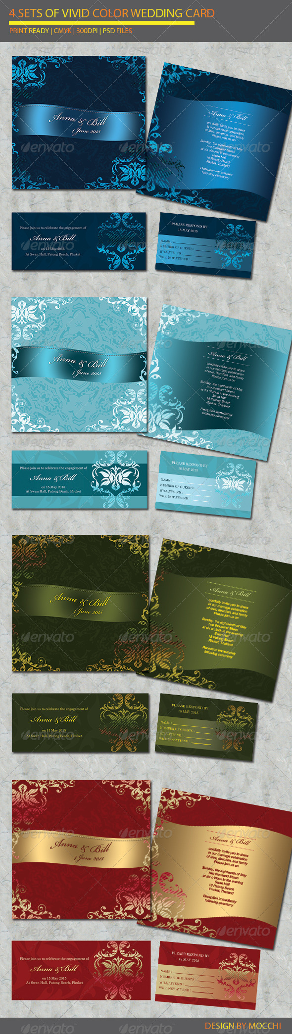GraphicRiver 4 items Wedding Card 2355122