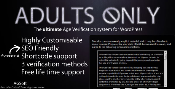 CodeCanyon Adults Only Age Verification System for WordPress 2439912