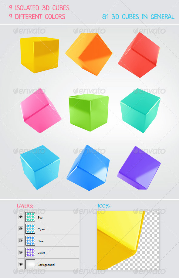 9 3D Cubes with 9 Colors - Abstract 3D Renders