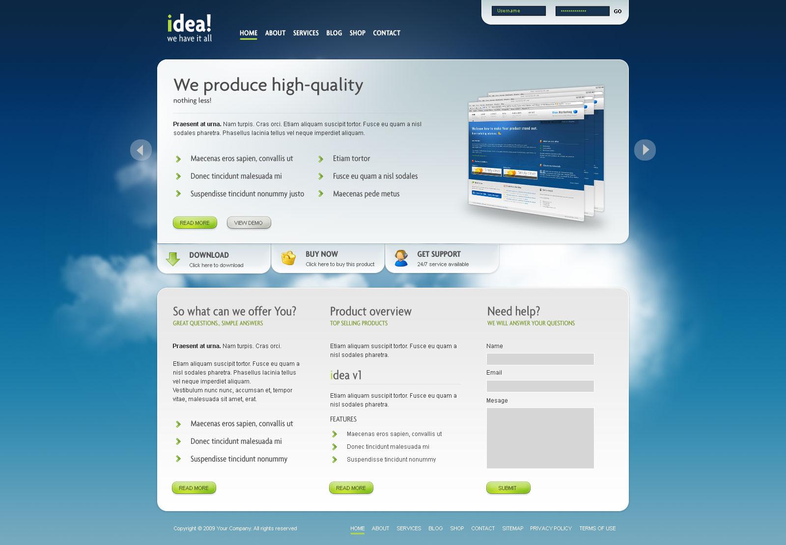 idea Business Shop Blog Template Wordpress