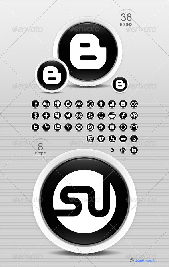 GraphicRiver 36 Black & White Social Media Icons 136661